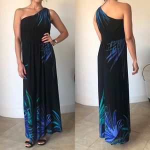 London Times One Shoulder Tropical Print maxi Gown